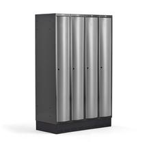 Šatní skříňka Curve, 4 sekce, 1890x1200x550 mm, sokl, šedé dveře
