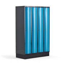 Šatní skříňka Curve, 4 sekce, 1890x1200x550 mm, sokl, modré dveře