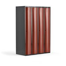 Šatní skříňka Curve, 4 sekce, oblé dveře, tmavě šedá, červené dveře