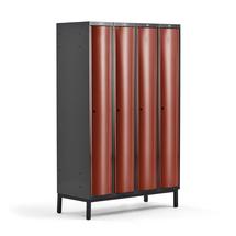 Šatní skříňka Curve, 4 sekce, 1940x1200x550 mm, nohy, červené dveře