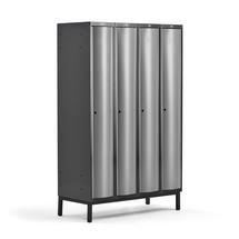 Šatní skříňka Curve, 4 sekce, 1940x1200x550 mm, nohy, šedé dveře