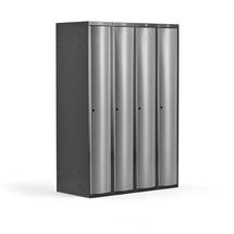 Šatní skříňka Curve, 4 sekce, oblé dveře, tmavě šedá, světle šedé dveře
