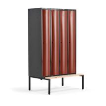 Šatní skříňka Curve, 4 sekce, 2120x1200x550 mm, lavice, červené dveře