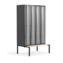 Šatní skříňka Curve, 4 sekce, 2120x1200x550 mm, lavice, šedé dveře
