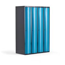 Šatní skříňka Curve, 4 sekce, oblé dveře, tmavě šedá, modré dveře