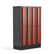 Šatní skříňka Curve, 4 sekce, 8 boxů, 1890x1200x550 mm, sokl, červené dveře