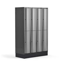 Šatní skříňka Curve, 4 sekce, 8 boxů, 1890x1200x550 mm, sokl, šedé dveře