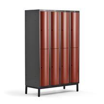 Šatní skříňka Curve, 4 sekce, 8 boxů, 1940x1200x550 mm, nohy, červené dveře