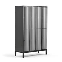 Šatní skříňka Curve, 4 sekce, 8 boxů, 1940x1200x550 mm, nohy, šedé dveře