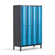 Šatní skříňka Curve, 4 sekce, 8 boxů, 1940x1200x550 mm, nohy, modré dveře