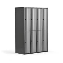 Šatní skříňka Curve, 4 sekce, 8 boxů, tmavě šedá, světle šedé dveře