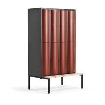 Šatní skříňka Curve, 4 sekce, 8 boxů, 2120x1200x550 mm, lavice, červené dveře