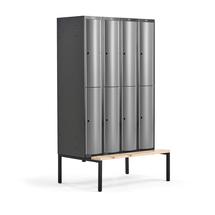 Šatní skříňka Curve, 4 sekce, 8 boxů, 2120x1200x550 mm, lavice, šedé dveře