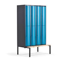 Šatní skříňka Curve, 4 sekce, 8 boxů, 2120x1200x550 mm, lavice, modré dveře