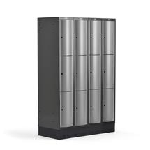Šatní skříňka Curve, 4 sekce, 12 boxů, 1890x1200x550 mm, sokl, šedé dveře