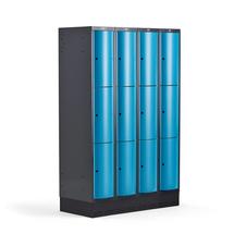 Šatní skříňka Curve, 4 sekce, 12 boxů, 1890x1200x550 mm, sokl, modré dveře