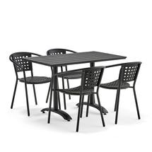 Set zahradního nábytku Piazza + Capri, 1 obdélníkový stůl + 4 černé židle