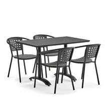 Set zahradního nábytku Piazza + Capri, 1 obdélníkový stůl + 4 šedé židle