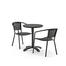Set zahradního nábytku Piazza + Capri, 1 kulatý stůl + 2 černé židle