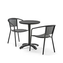 Set zahradního nábytku Piazza + Capri, 1 kulatý stůl + 2 šedé židle