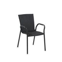 Ratanová zahradní židle Vienna, s područkami, černá