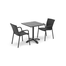 Sestava: zahradní stůl 700x700 mm, černý + 2 ratanové židle s područkami