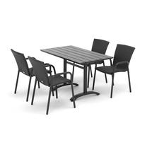 Sestava: zahradní stůl 1200x700 mm, černý + 4 ratanové židle s područkami