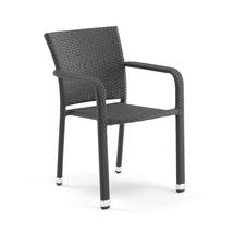 Ratanová zahradní židle Aston, s područkami, černá