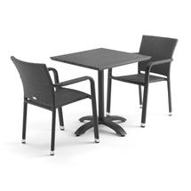 Sestava: zahradní stůl 700x700 mm, černý + 2 ratanové židle s područkami, černé