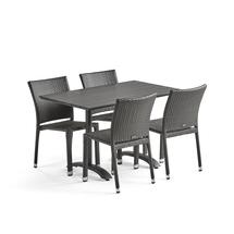 Sestava: zahradní stůl 1200x700 mm, černý + 4 ratanové židle bez područek, černé