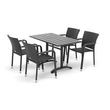 Sestava: zahradní stůl 1200x700 mm, černý + 4 ratanové židle s područkami, černé
