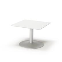 Konferenční stolek Crosby, 700x700 mm, bílá/hliníkově šedá