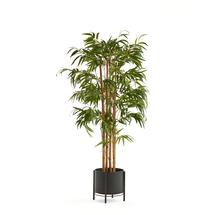 Bambus, umělý, výška 1500 mm, s černým kovovým květináčem na podstavci
