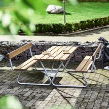 Extra dlouhý stůl Picnic, lavice s opěradlem, 1800 mm, hnědý