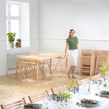 Skládací stůl Amber, 1800x800 mm, lakovaná dřevovláknitá deska/dřevěné nohy
