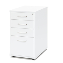 Zásuvkový kontejner Flexus, 4 zásuvky, nožičky, 720x400x600 mm, bílý