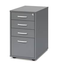 Zásuvkový kontejner Flexus, 4 zásuvky, nožičky, 720x400x600 mm, šedý
