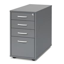 Zásuvkový kontejner Flexus, 4 zásuvky, nožičky, 720x400x800 mm, šedý
