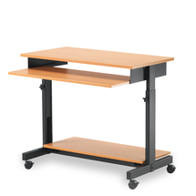 PC stůl, 700-820x880x500 mm, buk/černá