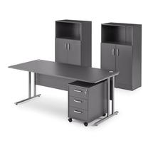 Sestava Flexus: stůl 1800x800 mm + kontejner + 2 skříně, šedá
