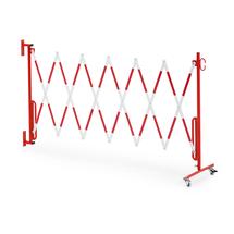 Roztahovací zábrana, s kolečky a držákem na zeď, max. 3600 mm, červená/bílá
