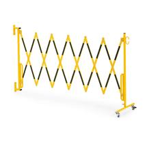 Roztahovací zábrana, s kolečky a držákem na zeď, max. 3600 mm, žlutá/černá
