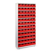 Regál se 72 plastovými boxy, 2000x950x270 mm, červené boxy