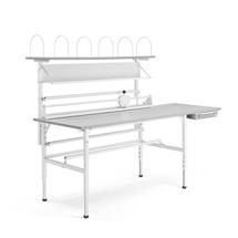 Balicí stůl Send, 2000x800 mm, s vrchní policí, šedý
