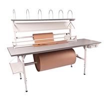 Balicí stůl Send, 2400x800 mm, s vrchní policí, šedý