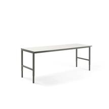 Pracovní stůl Cargo, 2400x750 mm, bílá laminátová deska, šedý rám