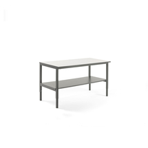 Pracovní stůl Cargo, se spodní policí, 1600x750 mm, bílá deska, šedý rám