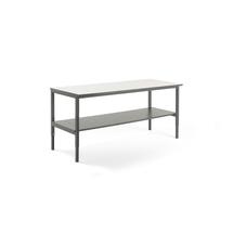 Pracovní stůl Cargo, se spodní policí, 2000x750 mm, bílá deska, šedý rám