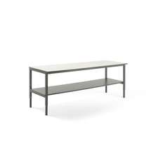 Pracovní stůl Cargo, se spodní policí, 2500x750 mm, bílá deska, šedý rám