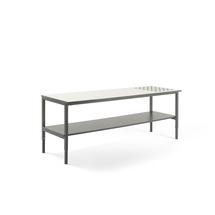 Pracovní stůl Cargo, s kuličkami a spodní policí, 2000x750 mm, bílá deska, šedý